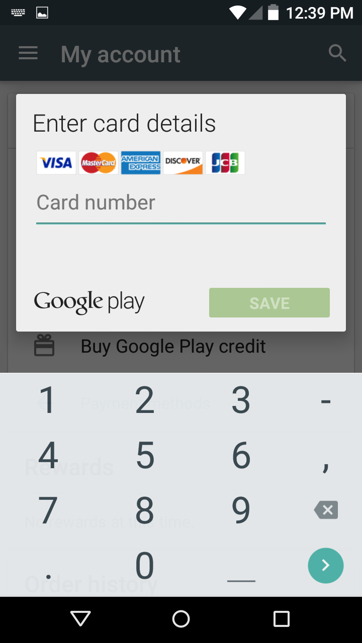 how to set up payment methods in the play store